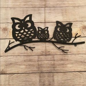 Owls on a Branch Metal Decorative Wall Art